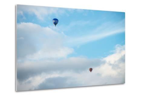 Hot Air Balloon High Above Bristol with Storm Clouds, Uk-Dan Tucker-Metal Print