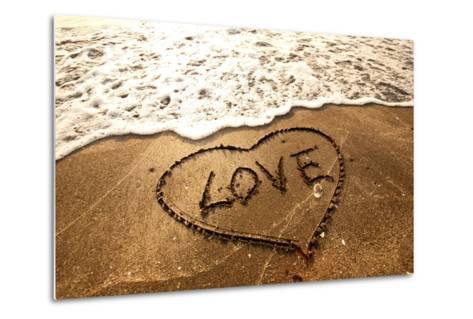 Love Concept Handwritten on Sand- Kawing921-Metal Print