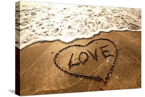Love Concept Handwritten on Sand- Kawing921-Stretched Canvas Print