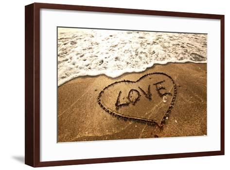 Love Concept Handwritten on Sand- Kawing921-Framed Art Print
