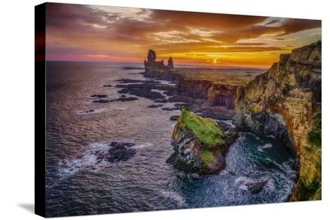 Londrangar Sea Stacks and the Thufubjarg Cliffs. Iceland-Ragnar Th Sigurdsson-Stretched Canvas Print