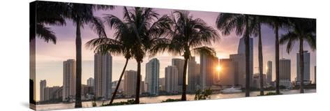 Florida, Miami Skyline at Sunset-John Kellerman-Stretched Canvas Print