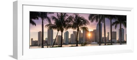 Florida, Miami Skyline at Sunset-John Kellerman-Framed Art Print