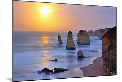 Moonset over Twelve Apostles in Victoria, Australia-Nokuro-Mounted Photographic Print