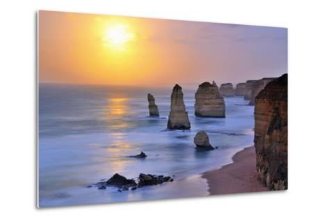 Moonset over Twelve Apostles in Victoria, Australia-Nokuro-Metal Print