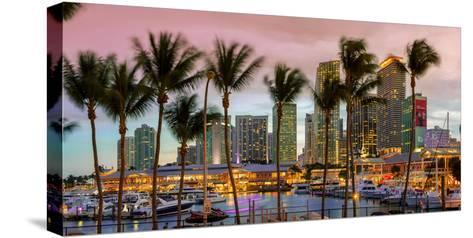 Miami, Bayside Shopping Mall at Dusk-John Kellerman-Stretched Canvas Print