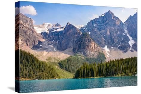 Lake Moraine, Near Lake Louise, Banff National Park, Canadian Rockies-Luis Leamus-Stretched Canvas Print