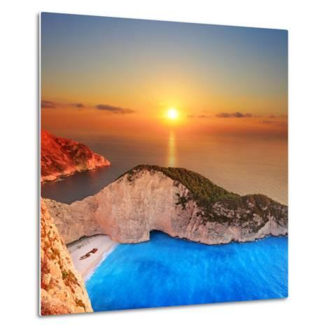 A Panorama of Sunset over Zakynthos Island, Greece-Ljsphotography-Metal Print