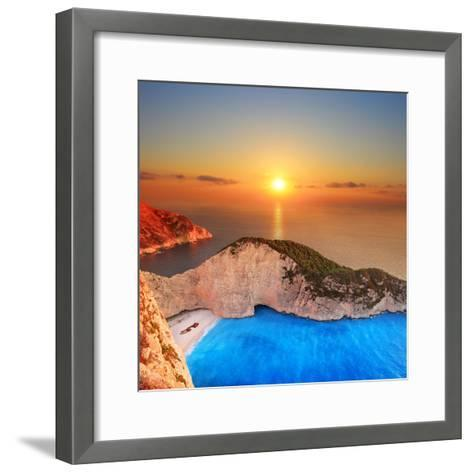 A Panorama of Sunset over Zakynthos Island, Greece-Ljsphotography-Framed Art Print