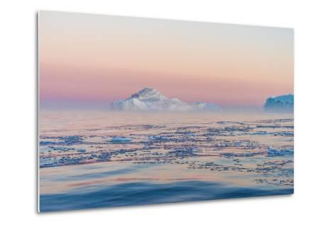 Stunning Iceberg Landscape with Midnight Sun Colors at Mouth ofIcefjord, Near Ilulissat, Greenland-Luis Leamus-Metal Print