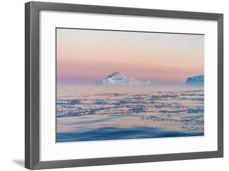 Stunning Iceberg Landscape with Midnight Sun Colors at Mouth ofIcefjord, Near Ilulissat, Greenland-Luis Leamus-Framed Art Print