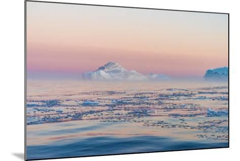 Stunning Iceberg Landscape with Midnight Sun Colors at Mouth ofIcefjord, Near Ilulissat, Greenland-Luis Leamus-Mounted Photographic Print