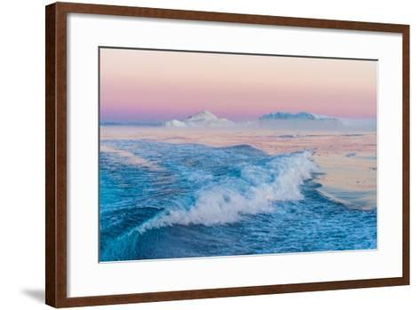 Huge Stranded Icebergs at the Mouth of the Icejord Near Ilulissat at Midnight, Greenland-Luis Leamus-Framed Art Print
