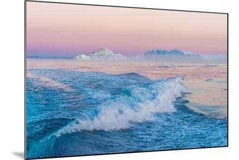 Huge Stranded Icebergs at the Mouth of the Icejord Near Ilulissat at Midnight, Greenland-Luis Leamus-Mounted Photographic Print