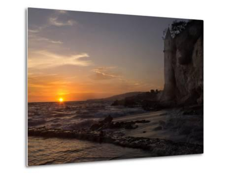 The Sunset over the Turret Tower at Victoria Beach in Laguna Beach, Southern California-Stephanie Starr-Metal Print