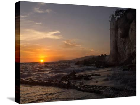 The Sunset over the Turret Tower at Victoria Beach in Laguna Beach, Southern California-Stephanie Starr-Stretched Canvas Print