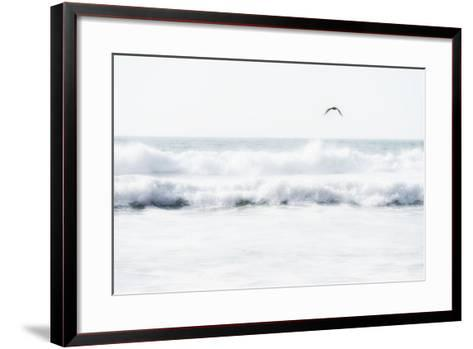 Sea Waves with Flying Seagull- Sarosa-Framed Art Print