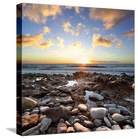 Beautiful Sunset at Atlantic Ocean. Tenerife, Canary Islands-Roman Sigaev-Stretched Canvas Print