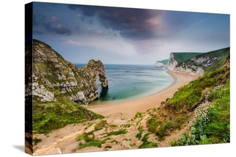Panoramic View over Beach with Durdle Door Landmark in Dorset Jurassic Coast, Uk-Marcin Jucha-Stretched Canvas Print