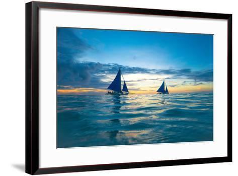 Sailing Boat at Sunset, Sea-Zhencong Chen-Framed Art Print