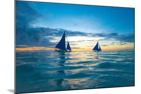 Sailing Boat at Sunset, Sea-Zhencong Chen-Mounted Photographic Print