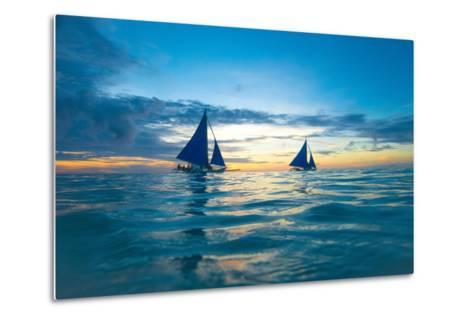 Sailing Boat at Sunset, Sea-Zhencong Chen-Metal Print