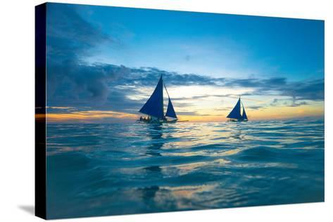 Sailing Boat at Sunset, Sea-Zhencong Chen-Stretched Canvas Print