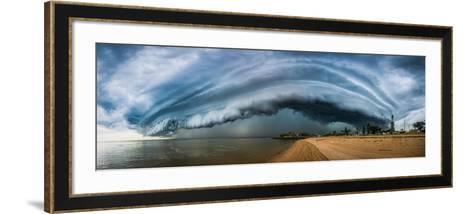 Australia, Redcliffe, Amazing Storm Cloud over Beach- Pete-Framed Art Print