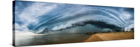 Australia, Redcliffe, Amazing Storm Cloud over Beach- Pete-Stretched Canvas Print