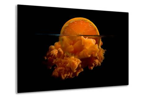 Conceptual Sunrise with a Slice of Orange and Acrylic Paint- Antonioiacobelli-Metal Print