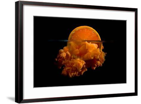 Conceptual Sunrise with a Slice of Orange and Acrylic Paint- Antonioiacobelli-Framed Art Print