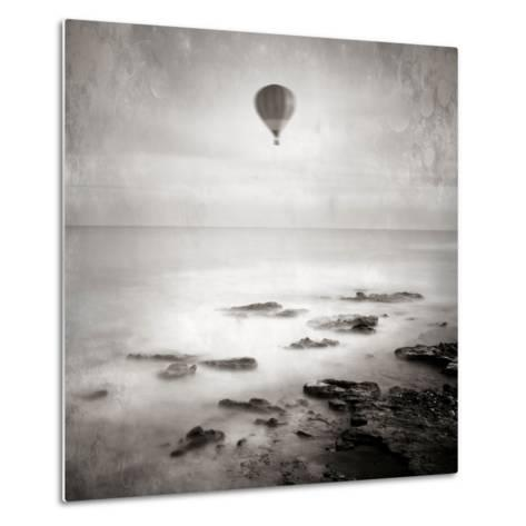 A Hot Air Balloon Floating Above the Sea-Trigger Image-Metal Print
