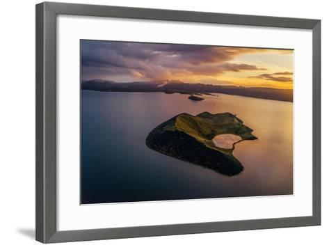 Aerial of a Small Island Named Sandey in Thingvallavatn or Lake Thingvellir, Iceland-Arctic-Images-Framed Art Print