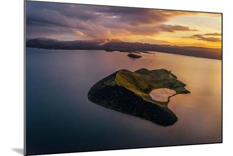 Aerial of a Small Island Named Sandey in Thingvallavatn or Lake Thingvellir, Iceland-Arctic-Images-Mounted Photographic Print
