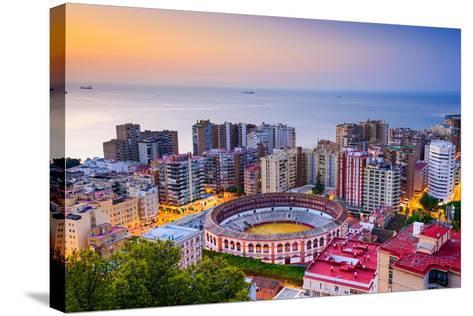 Malaga, Spain Cityscape at Dawn-Sean Pavone-Stretched Canvas Print