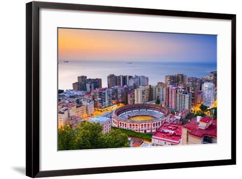Malaga, Spain Cityscape at Dawn-Sean Pavone-Framed Art Print