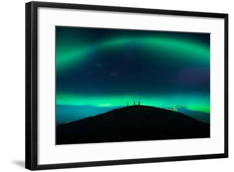 Photographing Auroras and Icebergs at Glacial Lagoon, Vatnajokull Ice Cap, Iceland-Ragnar Th Sigurdsson-Framed Art Print