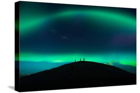 Photographing Auroras and Icebergs at Glacial Lagoon, Vatnajokull Ice Cap, Iceland-Ragnar Th Sigurdsson-Stretched Canvas Print