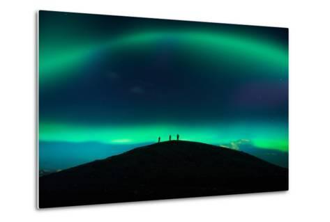 Photographing Auroras and Icebergs at Glacial Lagoon, Vatnajokull Ice Cap, Iceland-Ragnar Th Sigurdsson-Metal Print