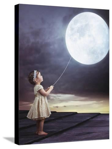 Fairy Portrait of a Little Cute Girl with a Moony Balloon-Konrad B?k-Stretched Canvas Print