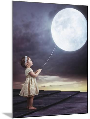 Fairy Portrait of a Little Cute Girl with a Moony Balloon-Konrad B?k-Mounted Photographic Print
