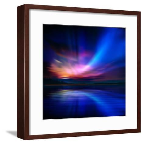 Abstract Nature Background with Aurora Borealis and Forest-Santa-Framed Art Print