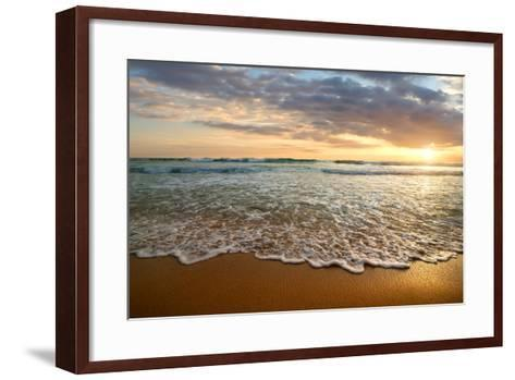 Bright Cloudy Sunset in the Calm Ocean- Givaga-Framed Art Print