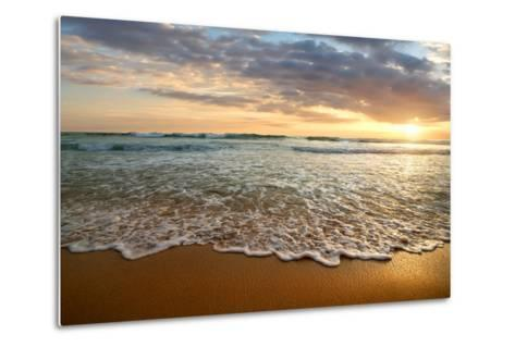 Bright Cloudy Sunset in the Calm Ocean- Givaga-Metal Print