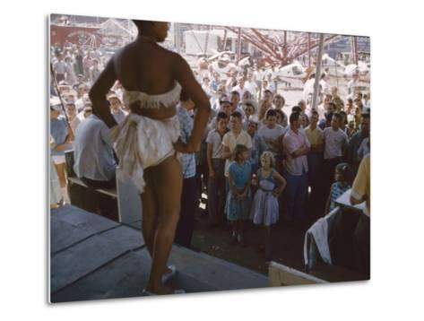 Audience Gathers to Watch a Dancer in a Two-Piece Costume at the Iowa State Fair, 1955-John Dominis-Metal Print