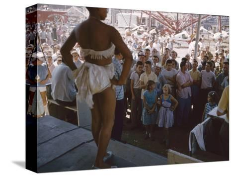 Audience Gathers to Watch a Dancer in a Two-Piece Costume at the Iowa State Fair, 1955-John Dominis-Stretched Canvas Print
