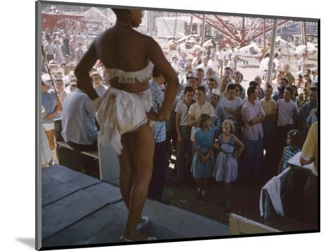 Audience Gathers to Watch a Dancer in a Two-Piece Costume at the Iowa State Fair, 1955-John Dominis-Mounted Photographic Print