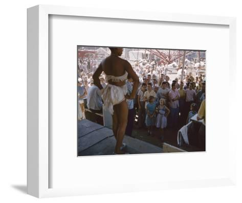 Audience Gathers to Watch a Dancer in a Two-Piece Costume at the Iowa State Fair, 1955-John Dominis-Framed Art Print