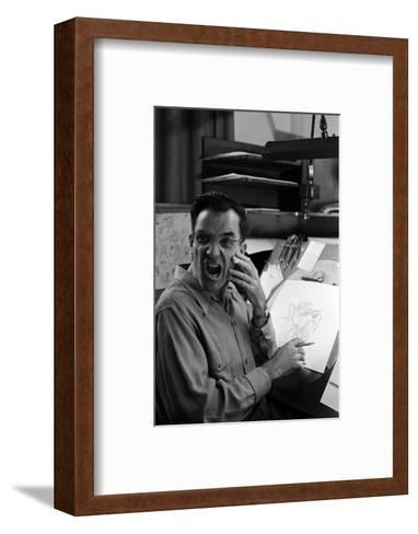 """Disney Artist Frank Johnson Works on a Drawing from """"Lady and the Tramp,"""" Burbank, CA, 1953-Alfred Eisenstaedt-Framed Art Print"""