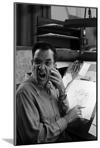 """Disney Artist Frank Johnson Works on a Drawing from """"Lady and the Tramp,"""" Burbank, CA, 1953-Alfred Eisenstaedt-Mounted Photographic Print"""